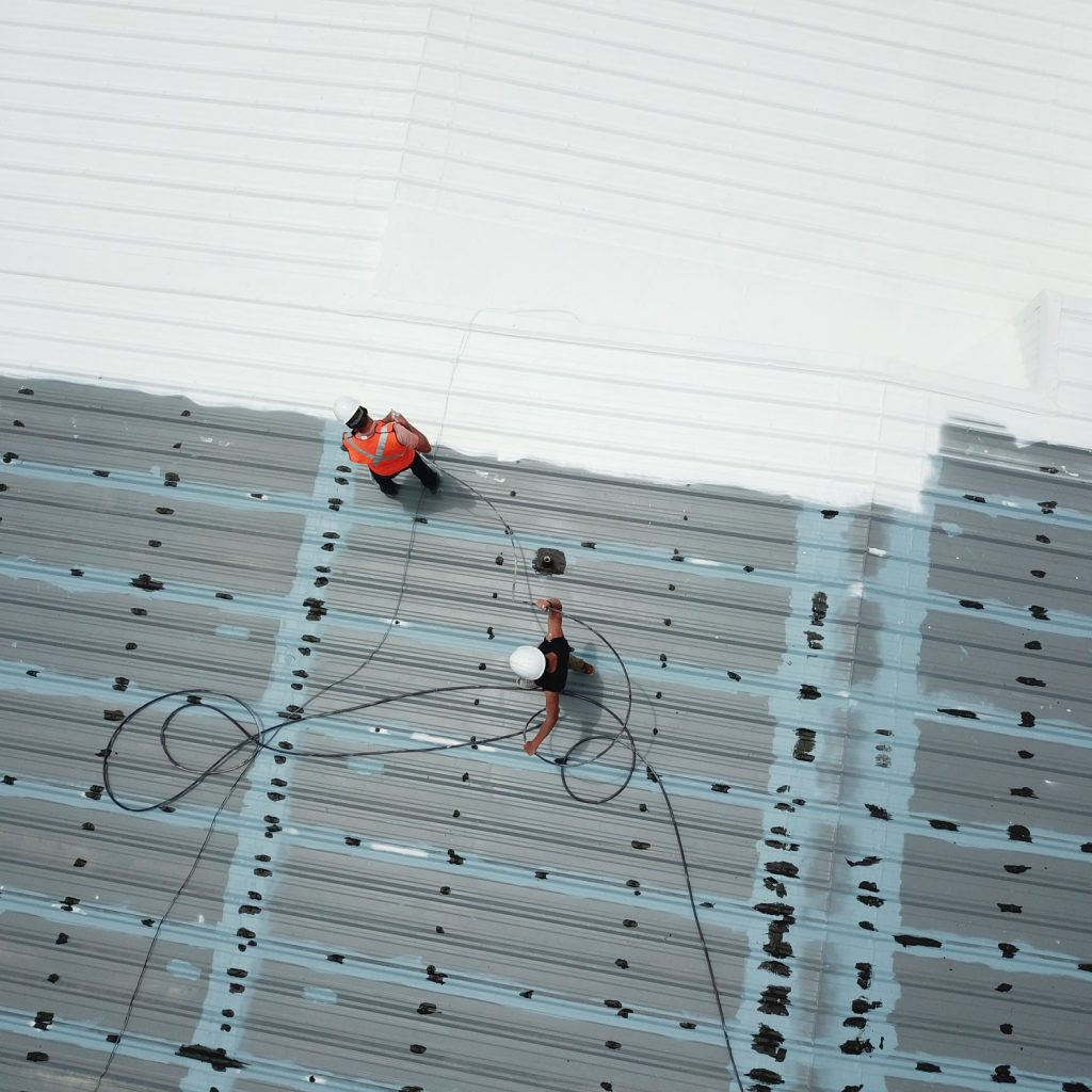 Overhead view of a roofing job in progress