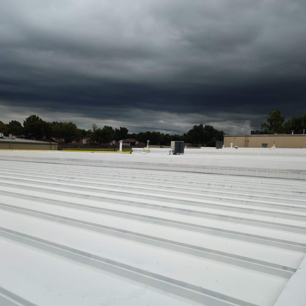 A close up of standing seam metal roofing.