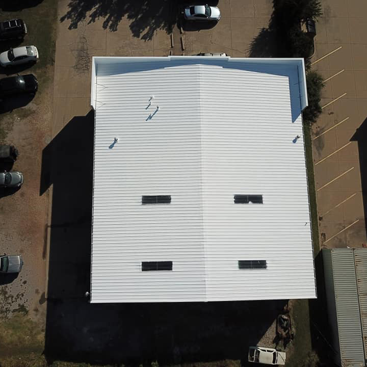 A bird's eye view of a completed roof restoration job.